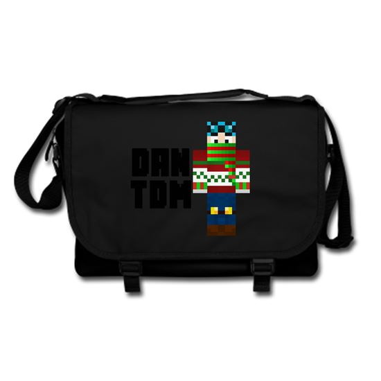 Picture of Dantdm Dan The Diamond Minecart Christmas Player Skin Standing Pose And Black Text Messenger Bag