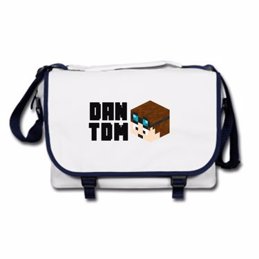 Picture of Dantdm Dan The Diamond Minecart Player Skin 3D Head Left Pose And Black Text Messenger Bag