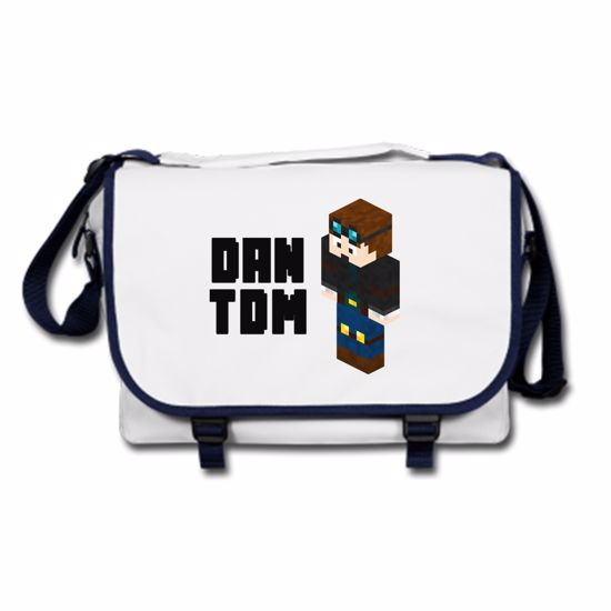 Picture of Dantdm Dan The Diamond Minecart Player Skin 3D Standing Left Pose And Black Text Messenger Bag