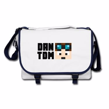 Picture of Dantdm Dan The Diamond Minecart Player Skin Face And Black Text Messenger Bag