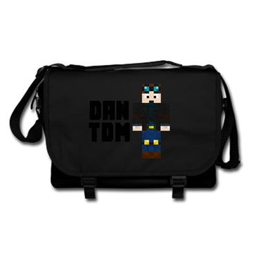 Picture of Dantdm Dan The Diamond Minecart Player Skin Standing Pose And Black Text Messenger Bag