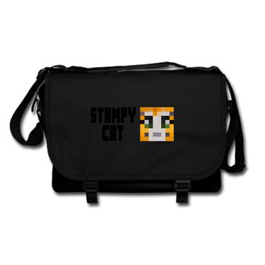 Picture of Stampy Cat Player Skin Face And Black Text Messenger Bag
