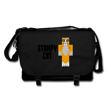 Picture of Stampy Cat Player Skin Standing Pose And Black Text Messenger Bag