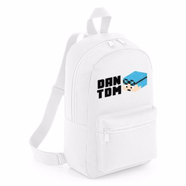 Picture of Dantdm Dan The Diamond Minecart Blue Hair Player Skin 3D Head Left Pose And Black Text Mini Backpack