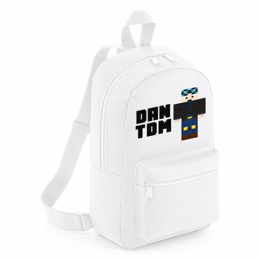 Picture of Dantdm Dan The Diamond Minecart Blue Hair Player Skin Standing Pose And Black Text Mini Backpack