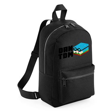 Picture of Dantdm Dan The Diamond Minecart Christmas Player Skin 3D Head Left Pose And Black Text Mini Backpack