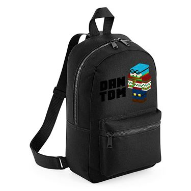 Picture of Dantdm Dan The Diamond Minecart Christmas Player Skin 3D Standing Left Pose And Black Text Mini Backpack