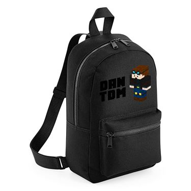 Picture of Dantdm Dan The Diamond Minecart Player Skin 3D Standing Left Pose And Black Text Mini Backpack