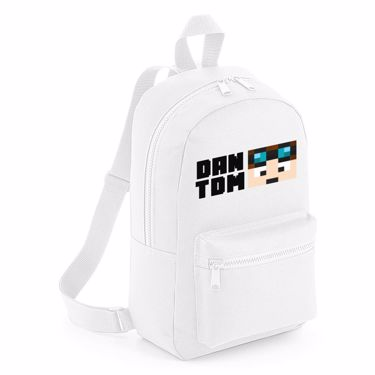 Picture of Dantdm Dan The Diamond Minecart Player Skin Face And Black Text Mini Backpack