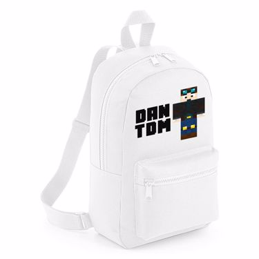 Picture of Dantdm Dan The Diamond Minecart Player Skin Standing Pose And Black Text Mini Backpack