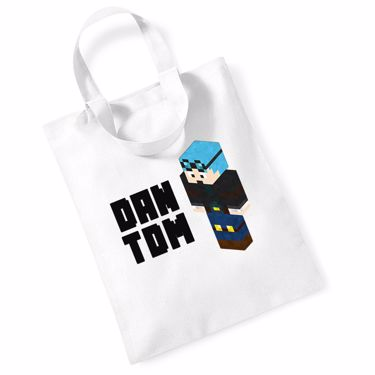 Picture of Dantdm Dan The Diamond Minecart Blue Hair Player Skin 3D Standing Left Pose And Black Text Mini Bag For Life
