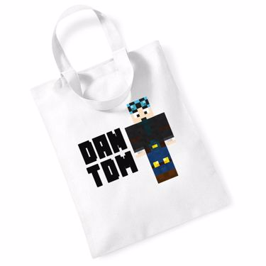 Picture of Dantdm Dan The Diamond Minecart Blue Hair Player Skin Standing Pose And Black Text Mini Bag For Life