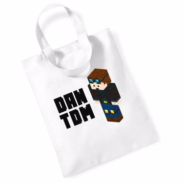 Picture of Dantdm Dan The Diamond Minecart Player Skin 3D Standing Left Pose And Black Text Mini Bag For Life