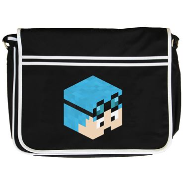 Picture of Dantdm Dan The Diamond Minecart Blue Hair Player Skin 3D Head Right Pose Retro Messenger Bag
