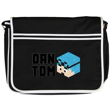 Picture of Dantdm Dan The Diamond Minecart Blue Hair Player Skin 3D Head Left Pose And Black Text Retro Messenger Bag
