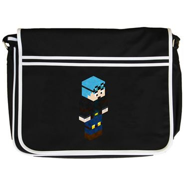 Picture of Dantdm Dan The Diamond Minecart Blue Hair Player Skin 3D Standing Right Pose Retro Messenger Bag
