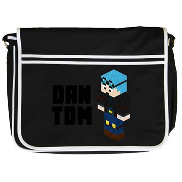 Picture of Dantdm Dan The Diamond Minecart Blue Hair Player Skin 3D Standing Left Pose And Black Text Retro Messenger Bag