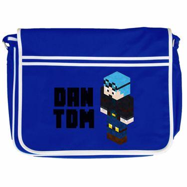 Picture of Dantdm Dan The Diamond Minecart Blue Hair Player Skin 3D Standing Left Pose And Black Text Retro Messenger Bag