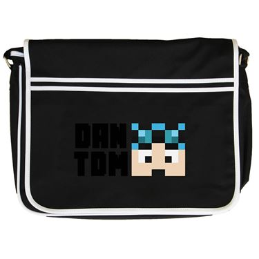Picture of Dantdm Dan The Diamond Minecart Blue Hair Player Skin Face And Black Text Retro Messenger Bag