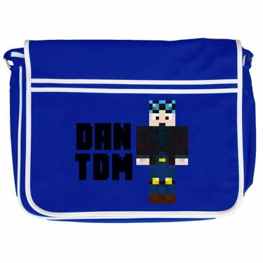 Picture of Dantdm Dan The Diamond Minecart Blue Hair Player Skin Standing Pose And Black Text Retro Messenger Bag