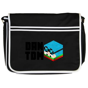 Picture of Dantdm Dan The Diamond Minecart Christmas Player Skin 3D Head Left Pose And Black Text Retro Messenger Bag