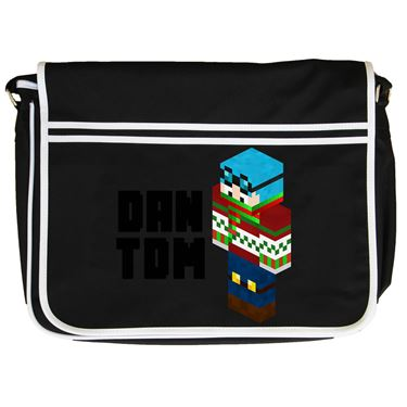 Picture of Dantdm Dan The Diamond Minecart Christmas Player Skin 3D Standing Left Pose And Black Text Retro Messenger Bag
