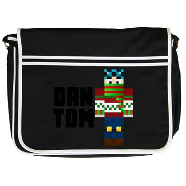Picture of Dantdm Dan The Diamond Minecart Christmas Player Skin Standing Pose And Black Text Retro Messenger Bag