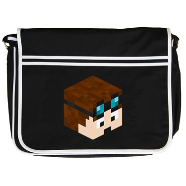 Picture of Dantdm Dan The Diamond Minecart Player Skin 3D Head Right Pose Retro Messenger Bag
