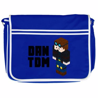 Picture of Dantdm Dan The Diamond Minecart Player Skin 3D Standing Left Pose And Black Text Retro Messenger Bag