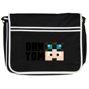 Picture of Dantdm Dan The Diamond Minecart Player Skin Face And Black Text Retro Messenger Bag