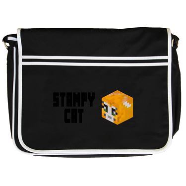 Picture of Stampy Cat Player Skin 3D Head Left Pose And Black Text Retro Messenger Bag