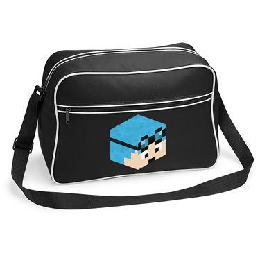 Picture of Dantdm Dan The Diamond Minecart Blue Hair Player Skin 3D Head Right Pose Retro Shoulder Bag
