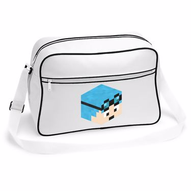 Picture of Dantdm Dan The Diamond Minecart Blue Hair Player Skin 3D Head Right Pose Retro Shoulder Bag