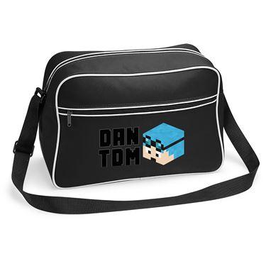 Picture of Dantdm Dan The Diamond Minecart Blue Hair Player Skin 3D Head Left Pose And Black Text Retro Shoulder Bag