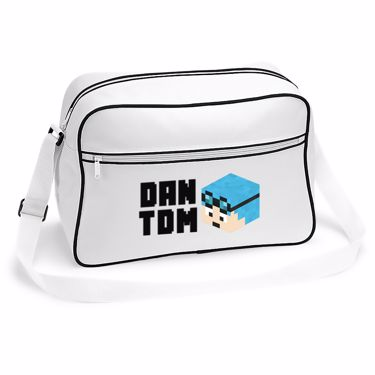 Picture of Dantdm Dan The Diamond Minecart Blue Hair Player Skin 3D Head Left Pose And Black Text Retro Shoulder Bag
