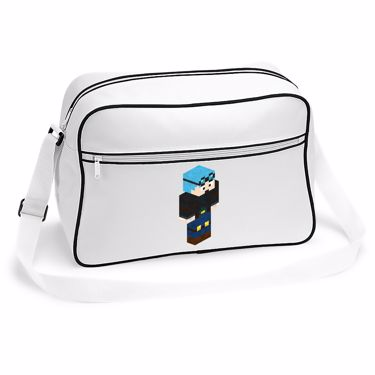 Picture of Dantdm Dan The Diamond Minecart Blue Hair Player Skin 3D Standing Right Pose Retro Shoulder Bag