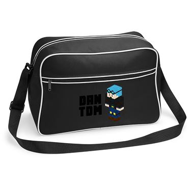 Picture of Dantdm Dan The Diamond Minecart Blue Hair Player Skin 3D Standing Left Pose And Black Text Retro Shoulder Bag
