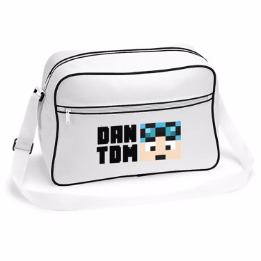 Picture of Dantdm Dan The Diamond Minecart Blue Hair Player Skin Face And Black Text Retro Shoulder Bag