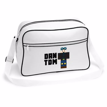 Picture of Dantdm Dan The Diamond Minecart Blue Hair Player Skin Standing Pose And Black Text Retro Shoulder Bag