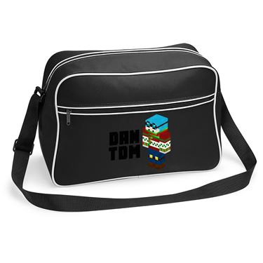 Picture of Dantdm Dan The Diamond Minecart Christmas Player Skin 3D Standing Left Pose And Black Text Retro Shoulder Bag