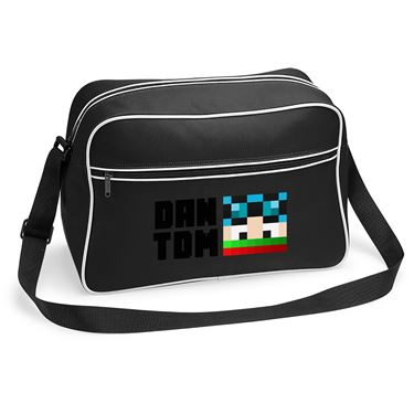 Picture of Dantdm Dan The Diamond Minecart Christmas Player Skin Face And Black Text Retro Shoulder Bag