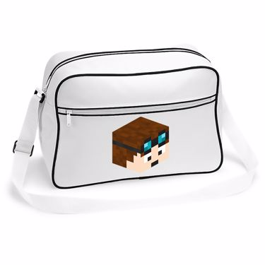 Picture of Dantdm Dan The Diamond Minecart Player Skin 3D Head Right Pose Retro Shoulder Bag