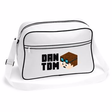 Picture of Dantdm Dan The Diamond Minecart Player Skin 3D Head Left Pose And Black Text Retro Shoulder Bag