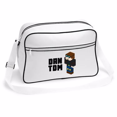 Picture of Dantdm Dan The Diamond Minecart Player Skin 3D Standing Left Pose And Black Text Retro Shoulder Bag