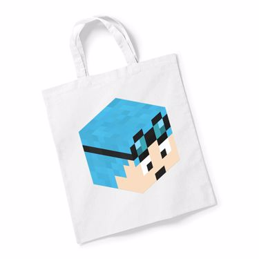 Picture of Dantdm Dan The Diamond Minecart Blue Hair Player Skin 3D Head Right Pose Reusable Bag For Life