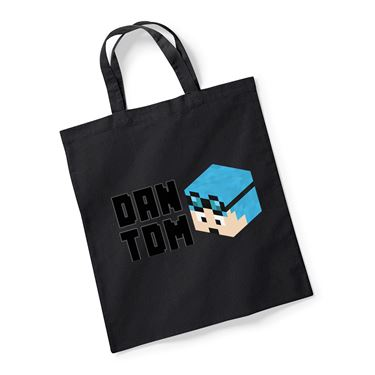 Picture of Dantdm Dan The Diamond Minecart Blue Hair Player Skin 3D Head Left Pose And Black Text Reusable Bag For Life