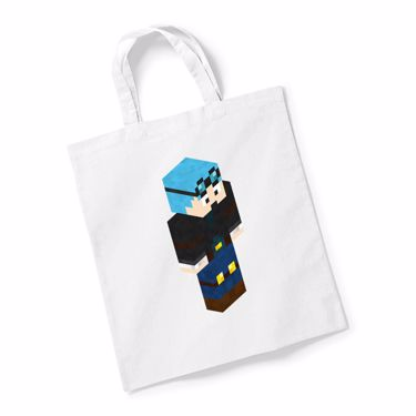Picture of Dantdm Dan The Diamond Minecart Blue Hair Player Skin 3D Standing Right Pose Reusable Bag For Life