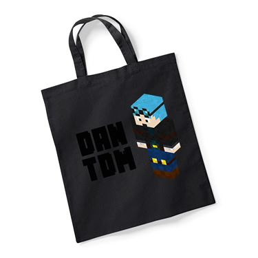 Picture of Dantdm Dan The Diamond Minecart Blue Hair Player Skin 3D Standing Left Pose And Black Text Reusable Bag For Life