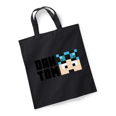 Picture of Dantdm Dan The Diamond Minecart Blue Hair Player Skin Face And Black Text Reusable Bag For Life