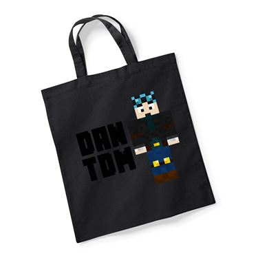 Picture of Dantdm Dan The Diamond Minecart Blue Hair Player Skin Standing Pose And Black Text Reusable Bag For Life